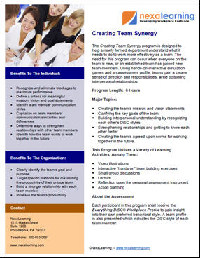 Creating Team Synergy - NexaLearning