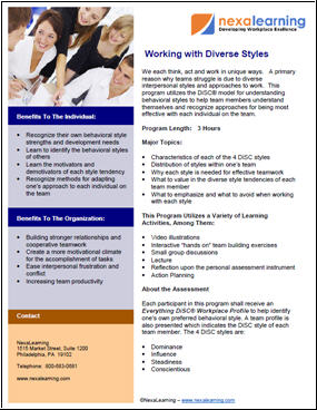 Working With Diverse Styles - NexaLearning
